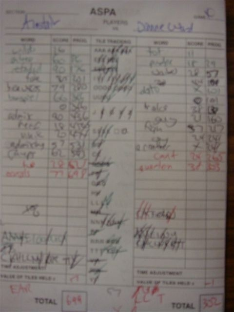 Alastair's 699 scoresheet